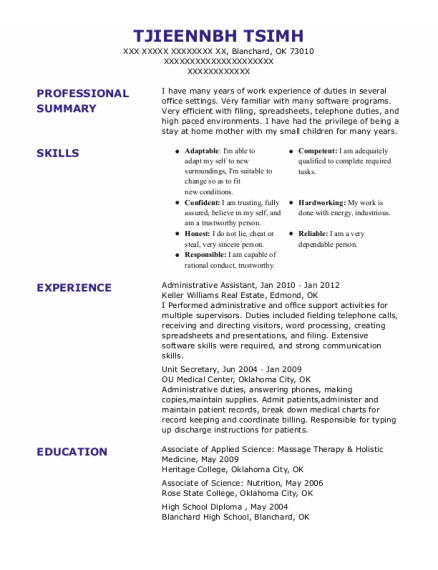Administrative Assistant resume template Oklahoma