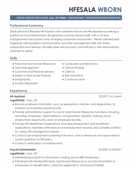 Hr Assistant resume template Oklahoma