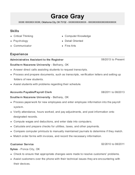 Administrative Assistant to the Registrar resume example Oklahoma
