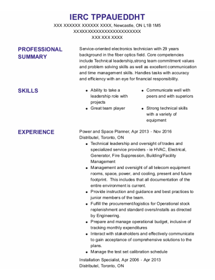 Installation Specialist resume format ON