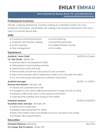 Assistant resume template ON