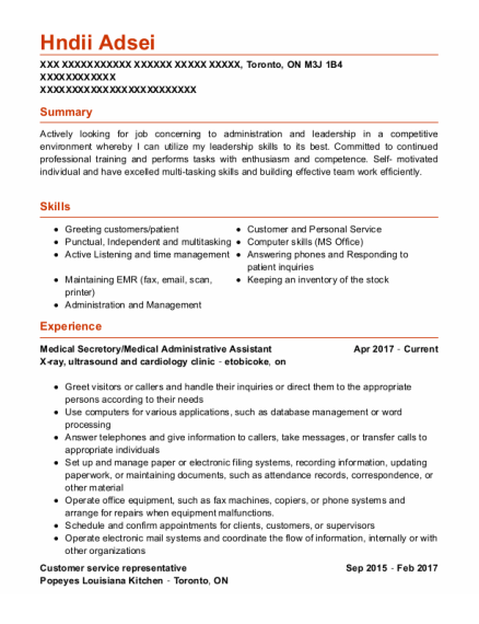 Medical Administrative Assistant resume format ON