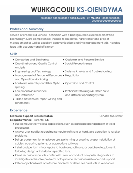 Electrical Technician resume template ON