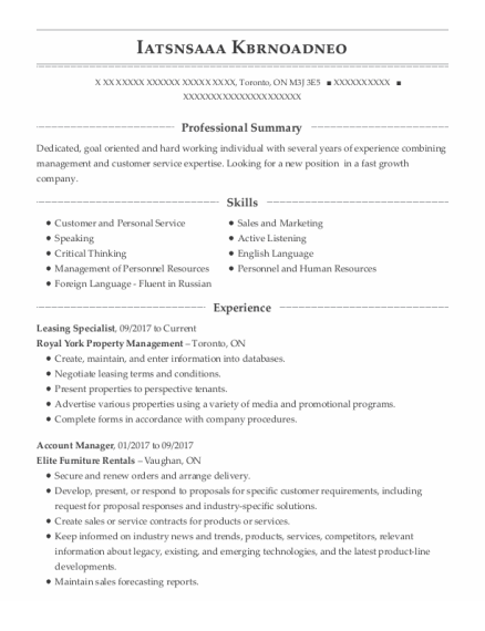 Leasing Specialist resume template ON