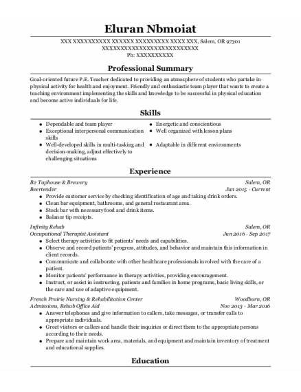 Occupational Therapist Assistant resume format Oregon