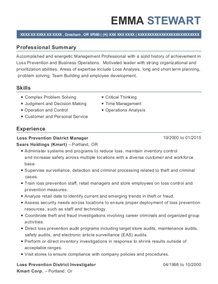 Loss Prevention District Manager resume example Oregon