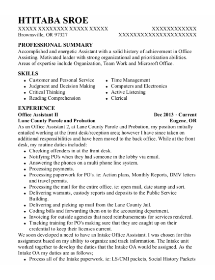 Office Assistant II resume example Oregon