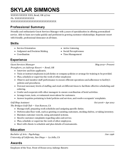 Guest Services Manager resume example Oregon