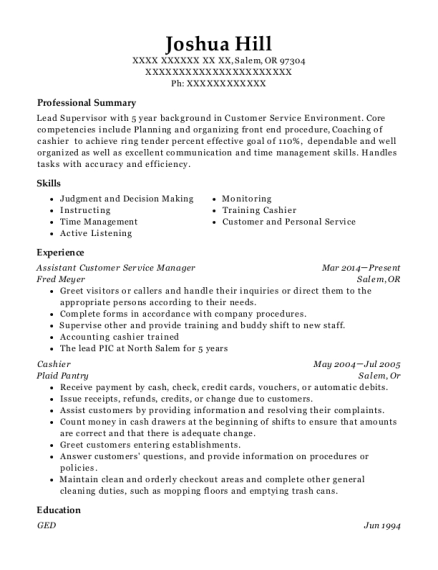 Assistant Customer Service Manager resume example Oregon