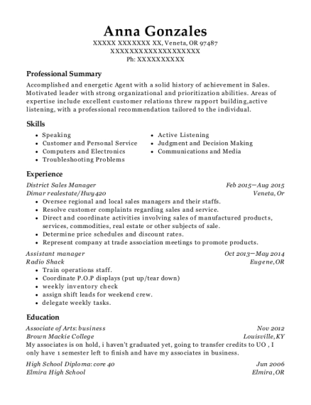 District Sales Manager resume example Oregon