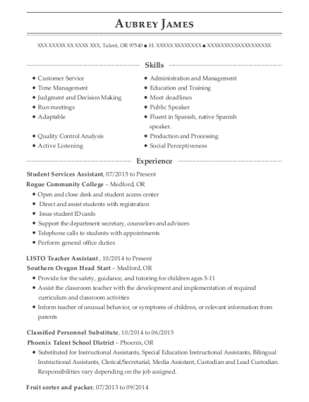 Student Services Assistant resume template Oregon