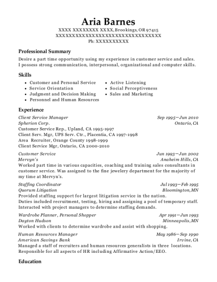 20 Best Client Service Manager Resumes Resumehelp