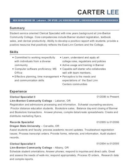 Clerical Specialist II resume example Oregon