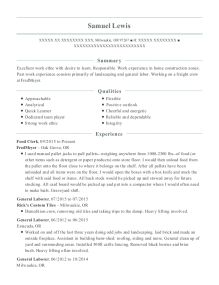 Food Clerk resume format Oregon