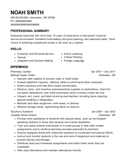 Pharmacy Cashier resume template Oregon