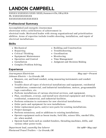 Journeyman Electrician resume template Oregon