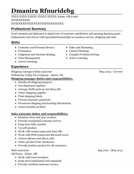 Shipping manager resume format Oregon