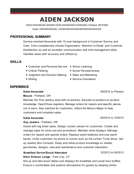 Sales Associate resume template Oregon