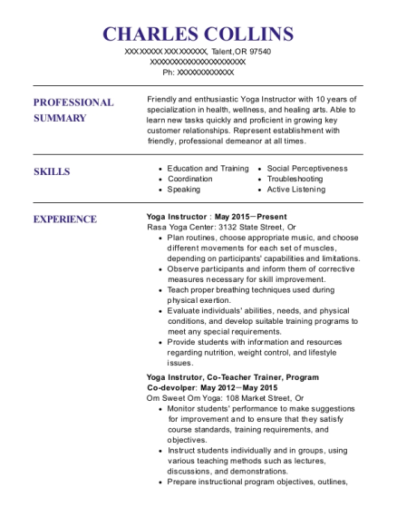 Yoga Instructor resume template Oregon