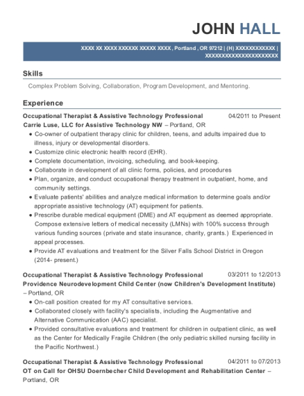 Occupational Therapist & Assistive Technology Professional resume example Oregon