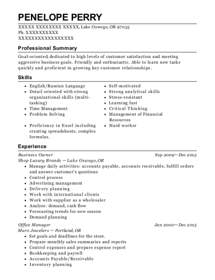 Business Owner resume example Oregon