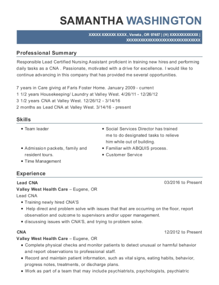 20 Best Lead Cna Resumes Resumehelp