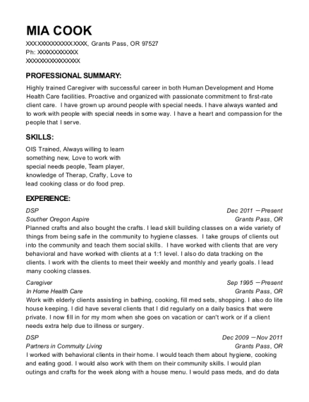 DSP resume format Oregon