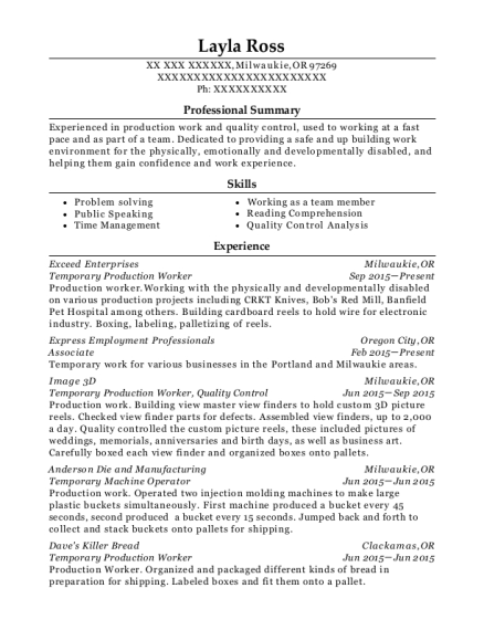 Temporary Production Worker resume format Oregon