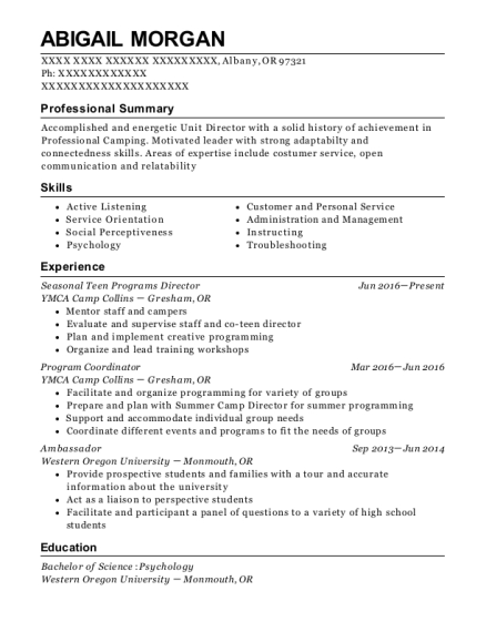 Seasonal Teen Programs Director resume template Oregon