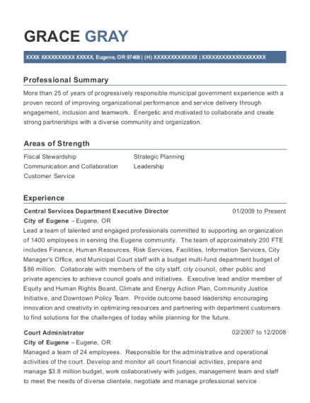 Central Services Department Executive Director resume format Oregon