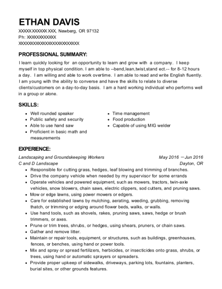 Landscaping and Groundskeeping Workers resume template Oregon