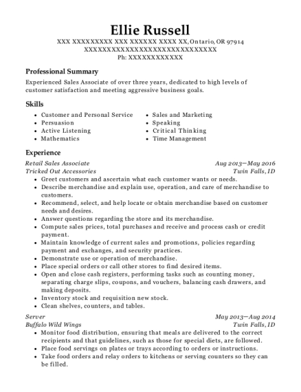 Retail Sales Associate resume template Oregon