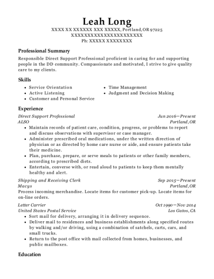 Direct Support Professional resume template Oregon