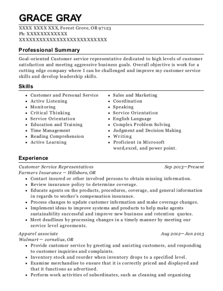Customer Service Representatives resume sample Oregon