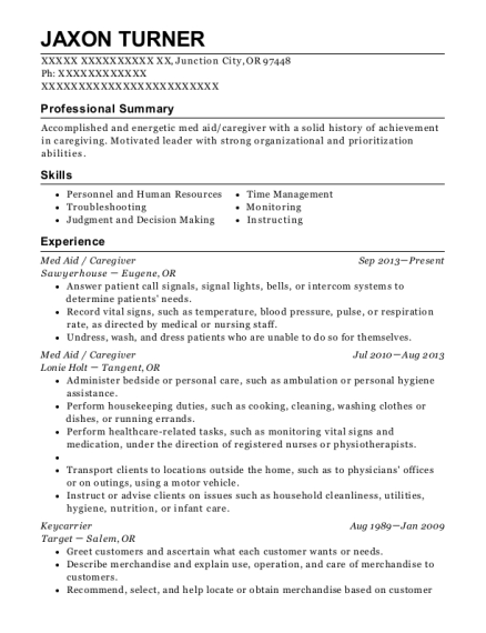 Med Aid resume sample Oregon