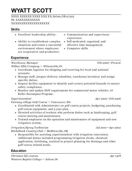 Warehouse Manager resume template Oregon