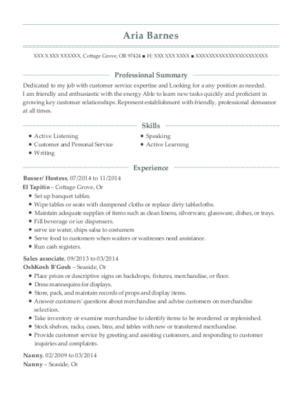 Busser resume sample Oregon