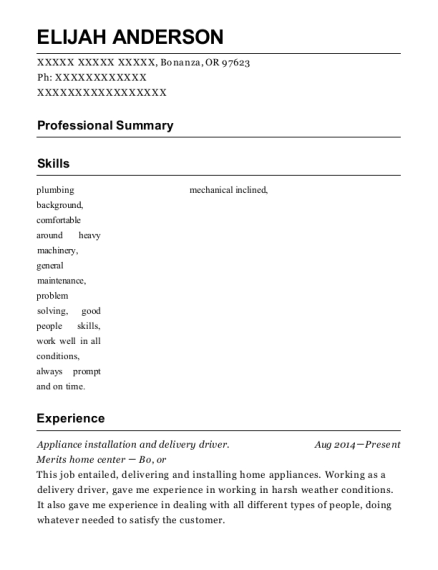 Appliance installation and delivery driver resume sample Oregon
