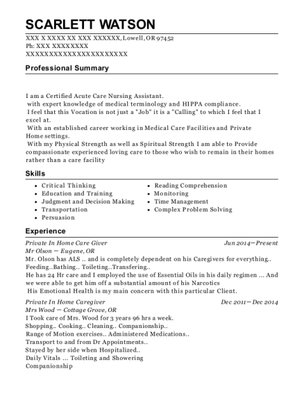 Private In Home Care Giver resume sample Oregon