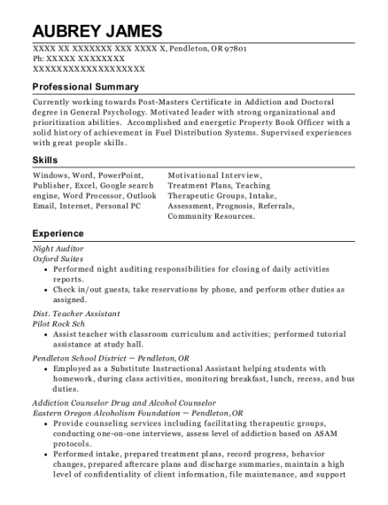 Night Auditor resume template Oregon