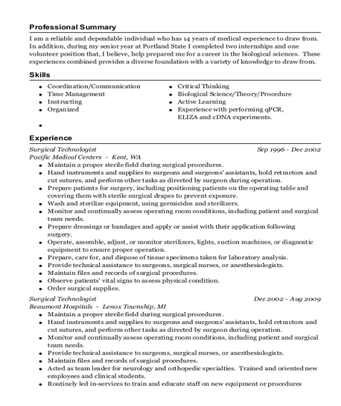 Surgical Technologist resume template Oregon