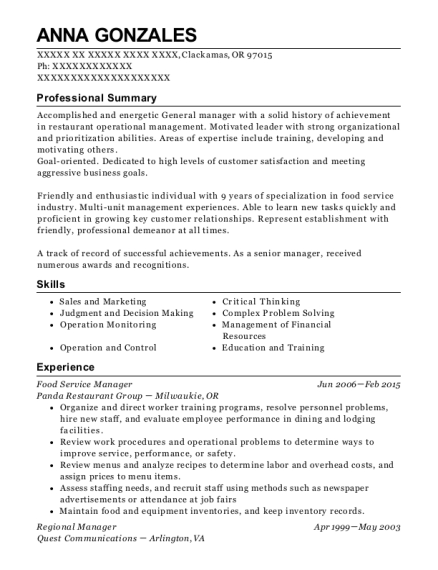 Food Service Manager resume template Oregon