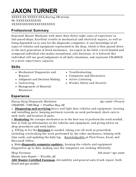 Heavy Duty resume template Oregon