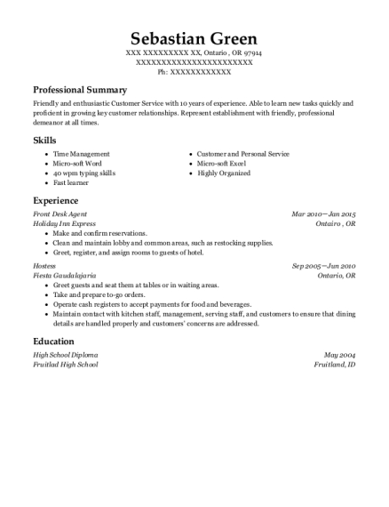 Front Desk Agent resume example Oregon