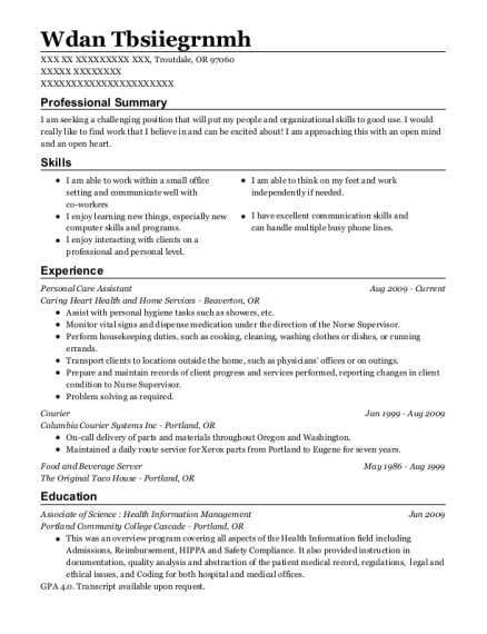 Personal Care Assistant resume sample Oregon