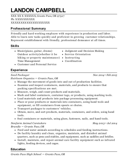 Seed Packager resume format Oregon