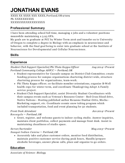 Student Club Support Specialist resume template Oregon