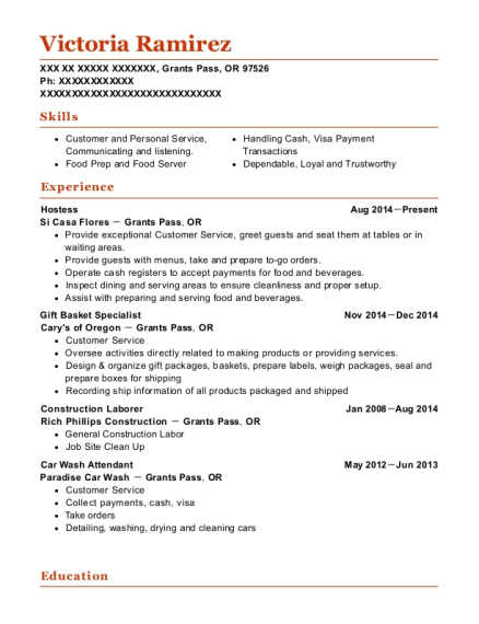 Hostess resume template Oregon