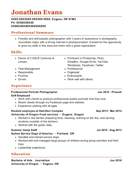Professional Portrait Photographer resume sample Oregon