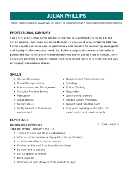 Bartender resume sample Oregon